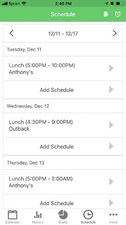 Schedule Screenshot