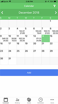 A Calendar displays your tips
